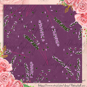 12 Lavender Digital Papers in Magenta Color