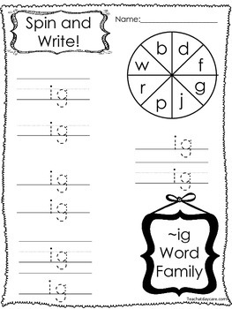 12 Letter I Word Families Spin and Write. Preschool-KDG