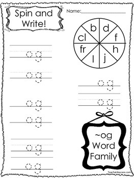 12 Letter O Word Families Spin and Write. Preschool-KDG