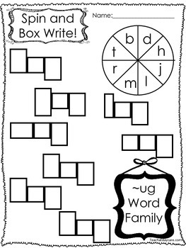 12 Letter U Word Families Spin and Write. Preschool-KDG