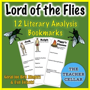 12 Lord of the Flies Literary Analysis Bookmarks - Characters, Setting, Symbols!