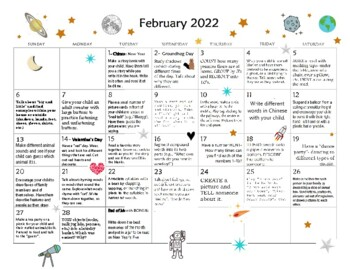 Senior Activity Calendar For February 2019 12 MONTH Early Learning Activity Calendar 2019  Cold Climates by