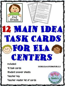 Main Idea Task Cards For 2nd Grade & Worksheets | TpT