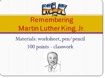 12 Martin Luther King Activities - Worksheets with Accompanying Power Point