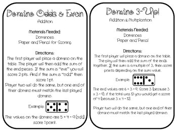 12 Math Center Games - Using Dominoes