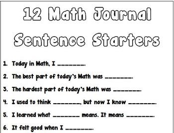 12 Math Journal Sentence Starters - Open Ended Questions for any Topic