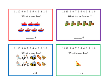 12 Math Task Cards Counting One-Less Numbers Up To 11 Subtraction 3pages