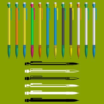 18 Mechanical Pencils (Vector Art) Various Colors, Line Art Variations