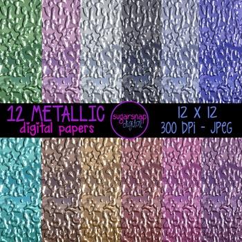 12 Metallic Digital Backgrounds Scrapbooking Papers 12 x 12