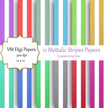 12 Metallic Digital Papers