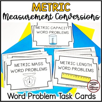 12 Metric Measurement Task Cards with Higher Order Multistep Word Problems