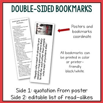 12 Middle School Book Quotation Posters w/ Coordinating Bookmarks--36 pages