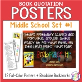 12 Middle School Book Quotation Posters w/ Coordinating Bo