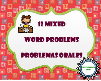 12 Mixed Word Problems / Problemas orales