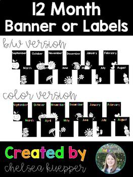 12 Month Banner/Labels - Black + Brights