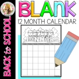 12 Month Blank Calendars With cute graphics for coloring!