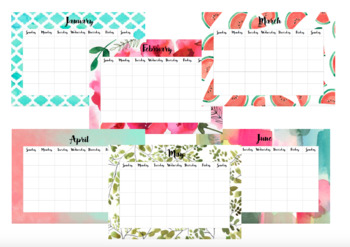 12 Month Blank Watercolour Calendar