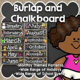 Classroom Calendar: Burlap and Chalkboard