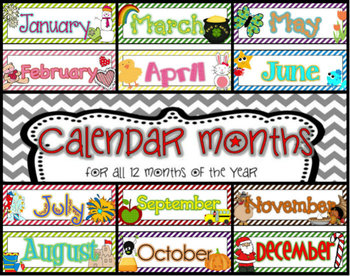12 month calendar headers by erin from creating and teaching tpt