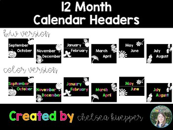 12 Month Calendar Headers - Black + Brights