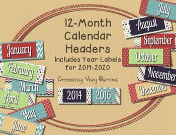 12 Month Calendar Headers and Year Labels