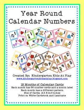 12 Month Calendar Number Cards
