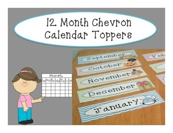 12 Month Chevron Calendar Toppers
