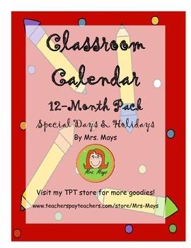 12 Month Classroom Calendar Pack + Special Days