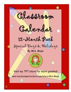 12 Month Classroom Calendar Pack + Special Days