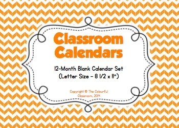 12-Month Classroom Calendars (letter size)