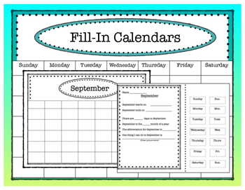12 Month, Fill-in Calendar Set
