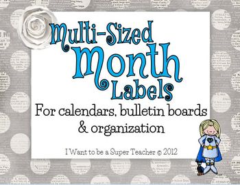 12 Month Labels in 5 Sizes for Calendars, Bulletin Boards and Organization