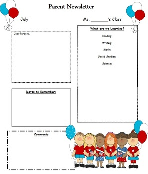 12 Month Templates for Your Classroom Newsletter