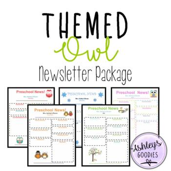 12 Month Themed OWL Newsletter Package