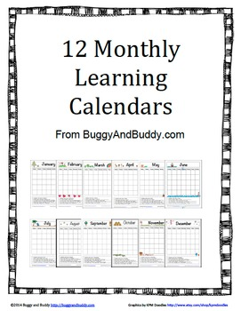 12 Monthly Learning Calendars