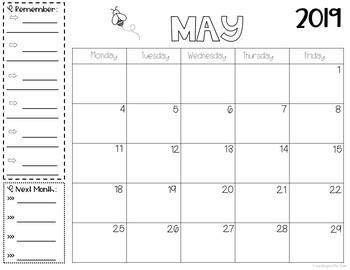 12 Monthly Printable Calendars 2019-2020- Horizontal