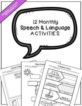 12 Monthly Speech & Language Activities
