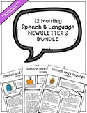 12 Monthly Speech & Language Newsletters Bundle