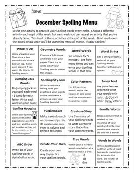 12 Monthly Spelling Menus (editable & non-editable versions)