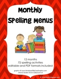 12 Monthly Spelling Menus (editable & non-editable versions)