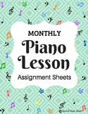 12 Monthly Themed Piano Lesson Assignment Sheets