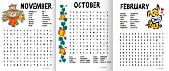 Monthly Word Search BUNDLE!