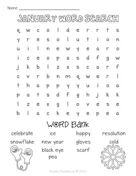 12 Monthly Word Searches