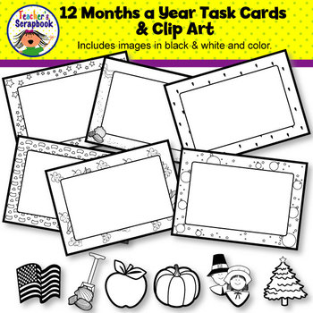 12 Months a Year Task Cards & Clip Art