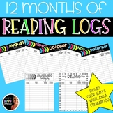 12 Months of Bright Color Reading Logs Black And White Included