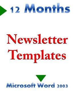 12 Months of Newsletter Templates MS Word 2003