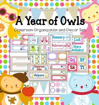 Owls Editable Classroom Organization Set (US & Canadian)