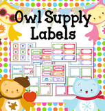 Seasonal Owls and Polka Dots Classroom Supply & Number Labels (Editable)