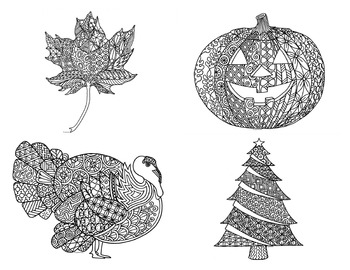 12 Months of Seasonal Holiday Coloring Pages: Winter, Spring, Summer & Fall