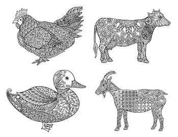 12 Barn and Farm Animal Zentangle Coloring Pages